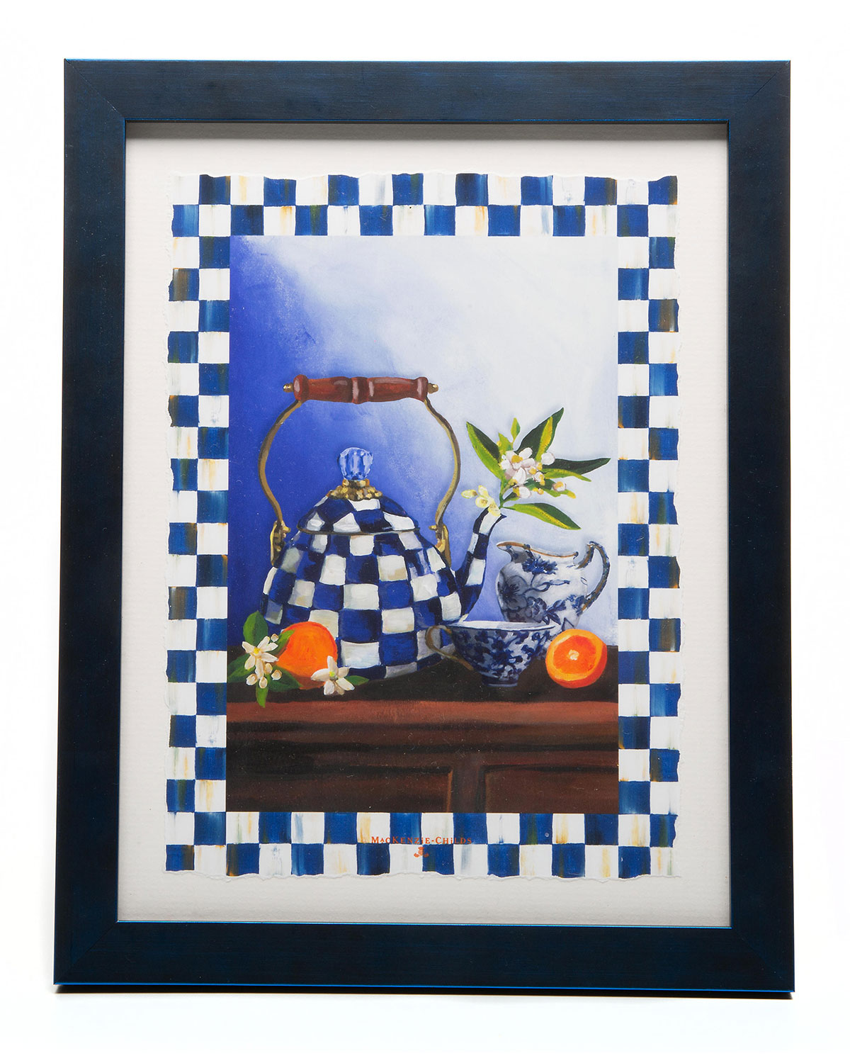 Mackenzie-Childs ROYAL CHECK TEA KETTLE STILL LIFE GICLEE PRINT IN FRAME