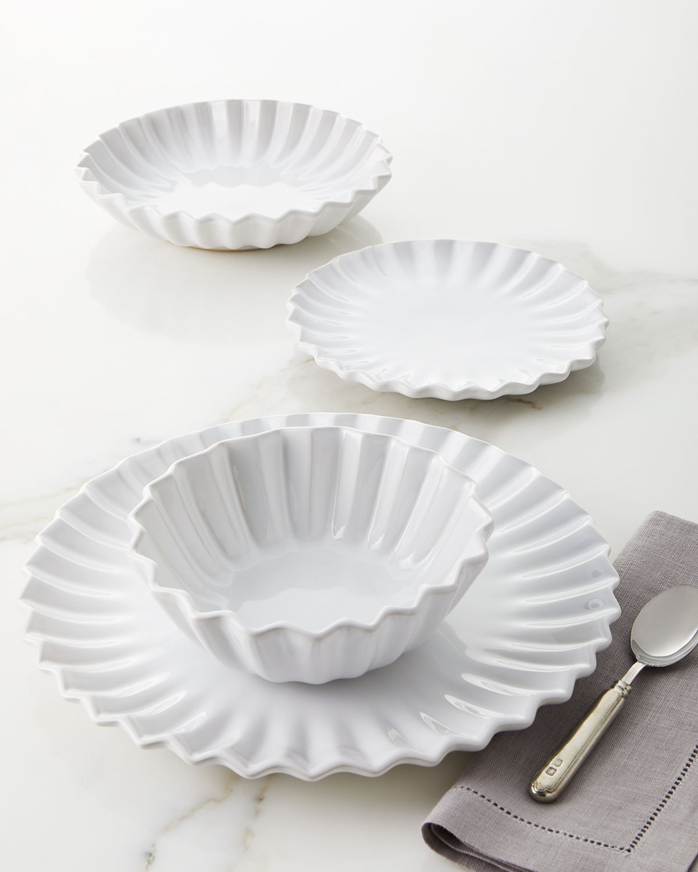 Vietri Flatwares INCANTO STONE WHITE PLEATED 4-PIECE PLACE SETTING