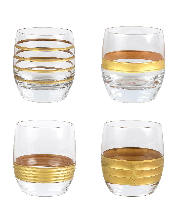Vietri Raffaello 4-piece Assorted Double Old Fashioned Glass Set In Gold