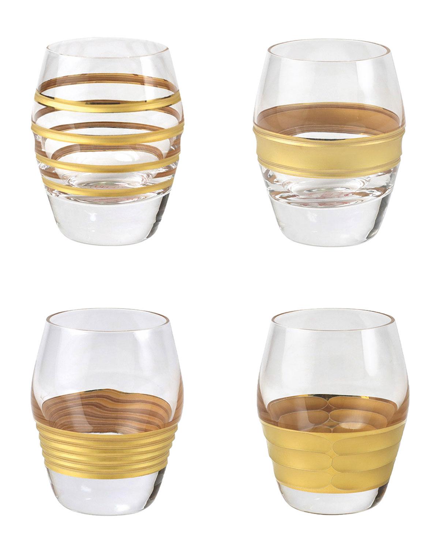 Vietri Raffaello Assorted Liquor Glasses, Set Of 4 In Gold