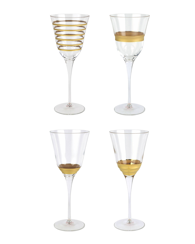 Vietri Raffaello 4-piece Assorted Wine Glass Set In Gold