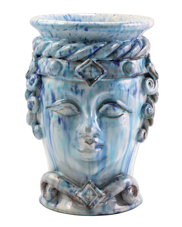 Vietri SICILLIAN HEADS BLUE SMALL QUEEN HEAD