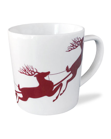 Caskata Sleigh Red Wide Mugs, Set of 4