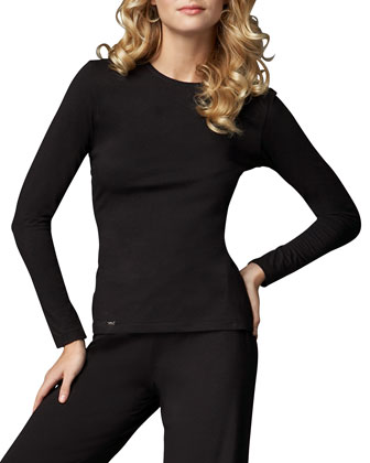 Tricot Long-Sleeve Top, Black