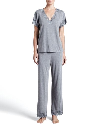 Zen Floral-Trim Pajamas, Women's, Heather Gray