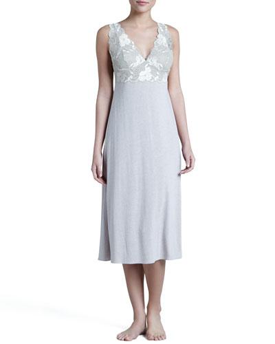 Zen Floral-Trim Gown