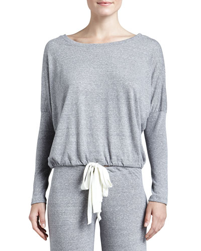 Slouchy Drawstring Tee, Gray Heather