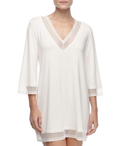 Gisele 3/4-Sleeve Lace-Trim Tunic