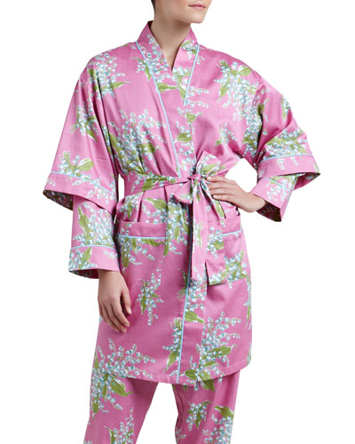 Lily of the Valley Sateen Kimono Robe