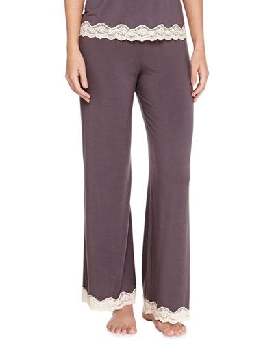 Lady Godiva Contrast-Lace PJ Pants, Pebble/Beige