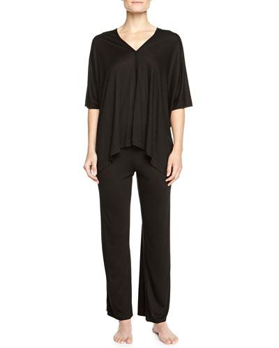 Shangri La Two-Piece Tunic Pajama Set, Black, Women's