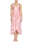 Tiger Lily-Print High-Low Nightgown, Pink