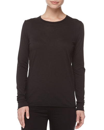 Long-Sleeve Cotton Crewneck Lounge Shirt