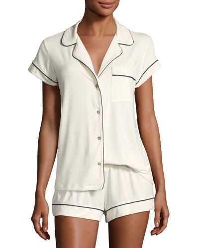 Gisele Boxer-Short Pajama Set, Ivory
