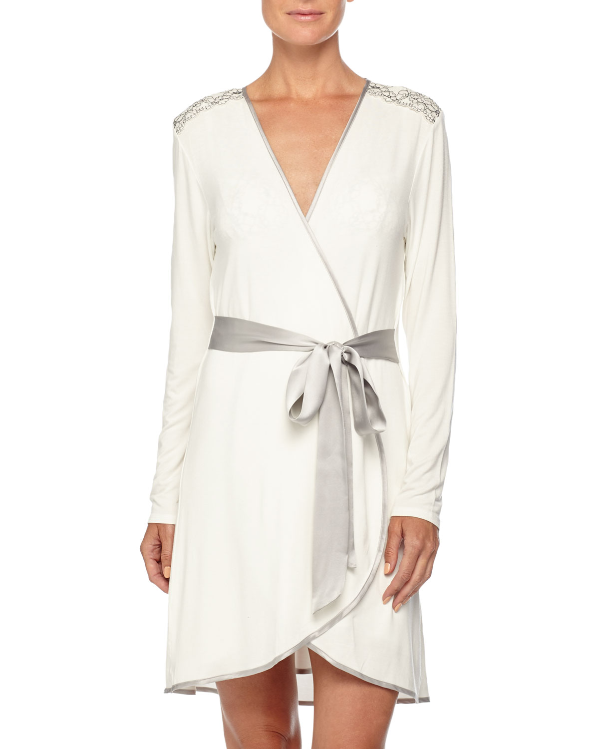 Autumn Bride Lace Short Robe, Ivory/Silver