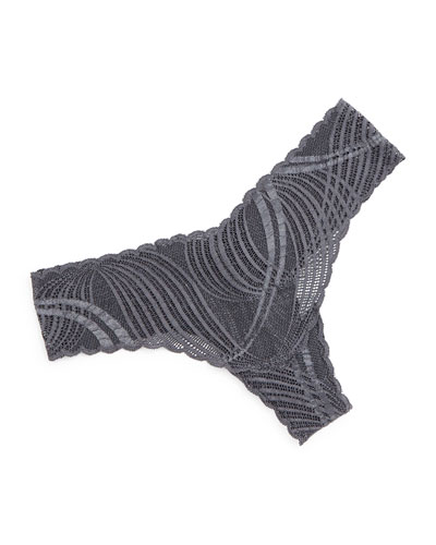 Minoa Low-Rise Lace Thong, Anthracite