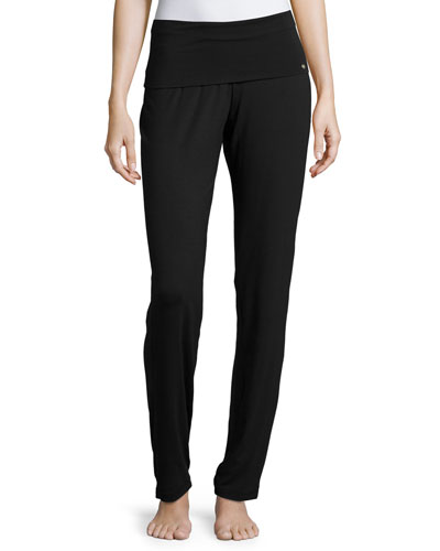 Yoga Basic Straight-Leg Pants, Black
