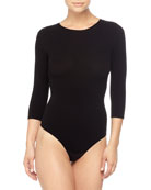 3/4-Sleeve Seamless Bodysuit, Black