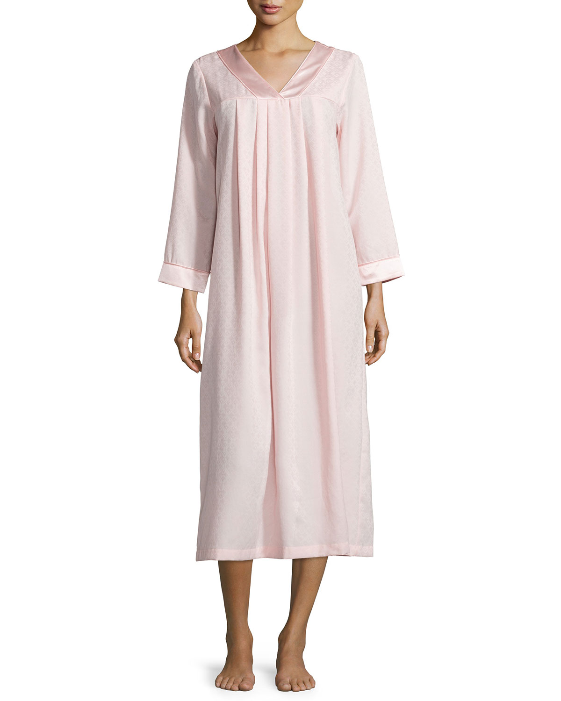 Brushed-Back Satin Jacquard Long Gown, Blush Pink