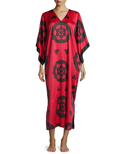 Sultana Printed Long Caftan, Bed Red