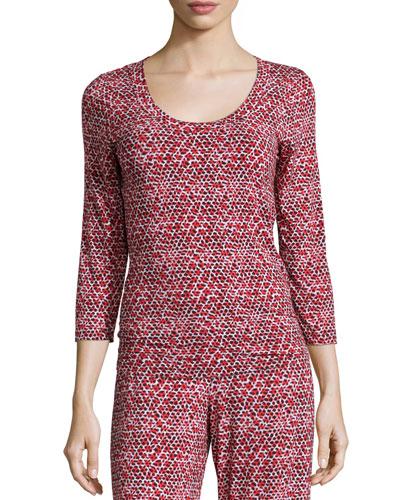 Plume Print 3/4-Sleeve Pajama Top