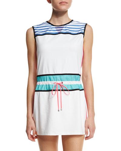 Sleeveless Drawstring-Waist Signature Sport Dress, White