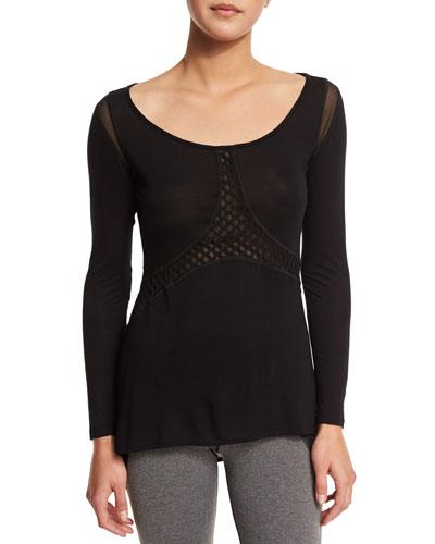 Sirena Long-Sleeve Sport Top with Mesh-Panels, Black