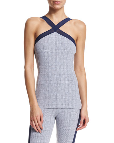X-Front Printed Sleeveless Sport Tank, Gray Grid Print