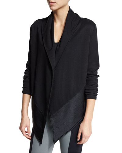 Shawl-Collar Blanket Sweater, Winter Black