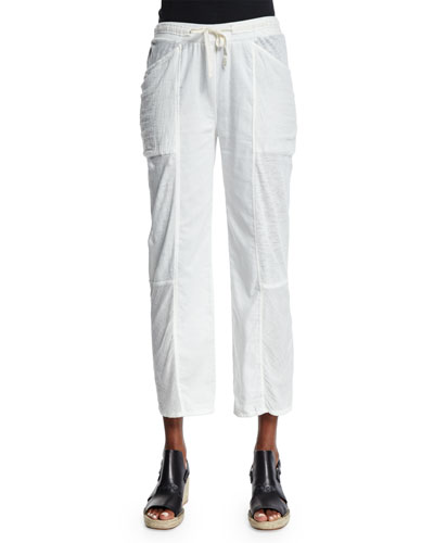 Meryl Straight-Leg Cropped Pants, Crane White
