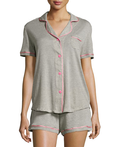 Bella Short-Sleeve Feed-Striped Pajama Set, Heather Gray/Pink