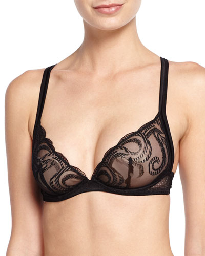 Clio Sheer-Lace Triangle-Cup Bra, Black