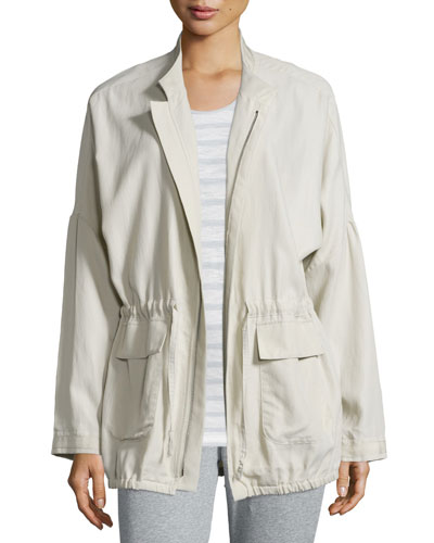 Laurie Zip-Front Anorak Jacket, Light Tan