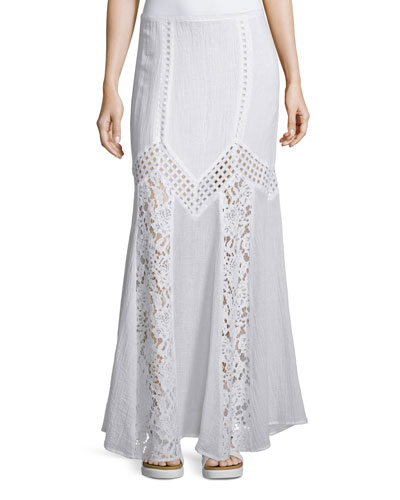 Zaina Maxi Skirt W/Lace Inset, Crane White