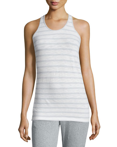 June Striped Racerback Tank, White/Moonlight