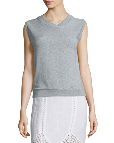 Luca Sleeveless V-Neck Pullover, Heather Gray