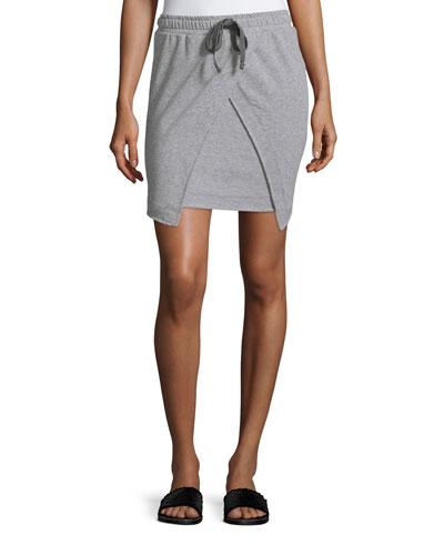 Asher Drawstring-Waist Split-Front Skirt, Heather Gray