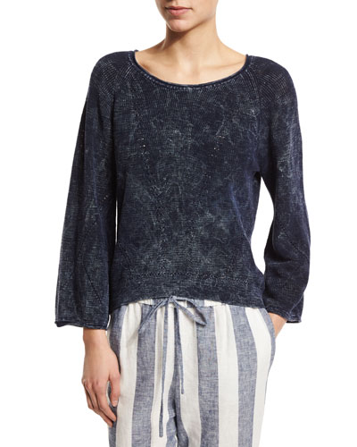 Judith Bracelet-Sleeve Pullover, Indigo Blue