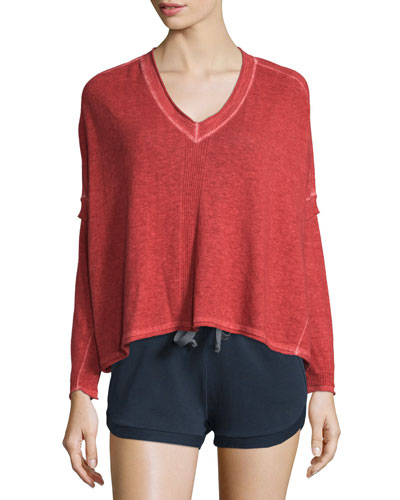 Marisol Long-Sleeve V-Neck Sweater, Red