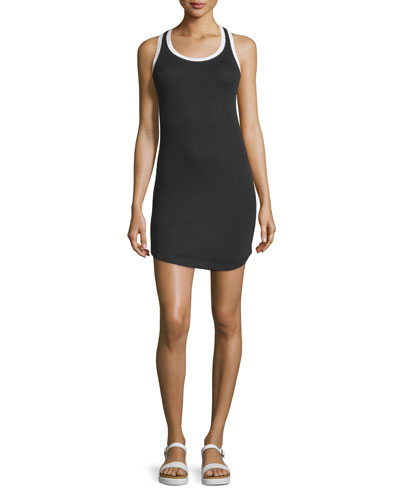 Carolina Round-Neck Tank Dress, Black/White
