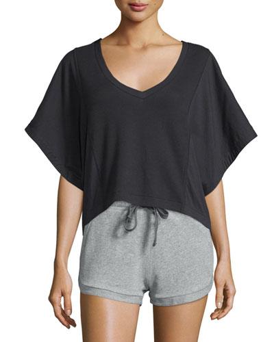 Siggie Half-Sleeve V-Neck Top, Black