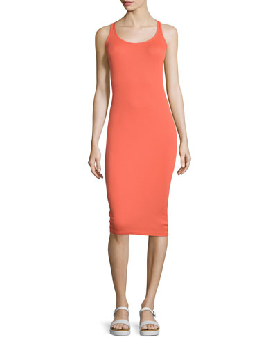 Meredith Round-Neck Tank Dress, Red Hot