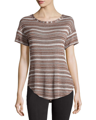 Naira Striped Short-Sleeve Top, Gray Multi Stripe