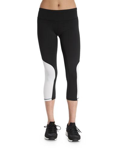 Colorblock Cycling Capri Leggings, White/Black