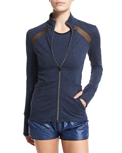 Studio Heathered Jacket W/Mesh Panels, Heather/Navy