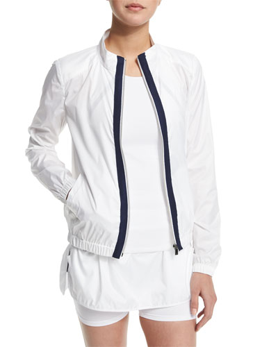 Training Jacket W/Contrast Stripe, White/Navy