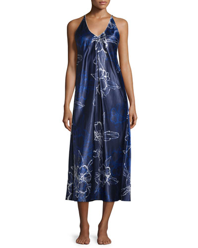 Floral Charmeuse Gown, Blue