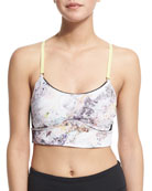 The Cut Printed Cami Sports Bra, Citrus/Stone