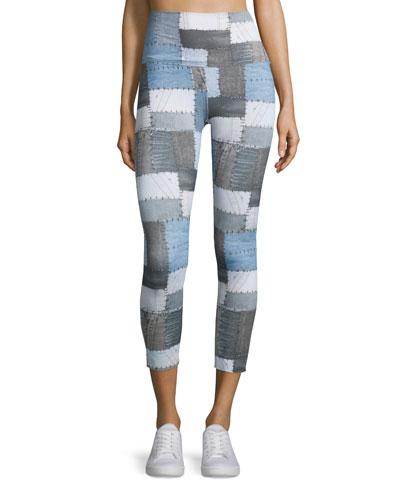 Patchwork-Print Stretch Athletic Leggings