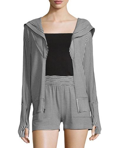 Striped Zip-Up Sport Hoodie